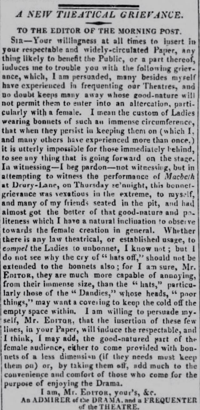 Bad behaviour in the theatre, 1818style