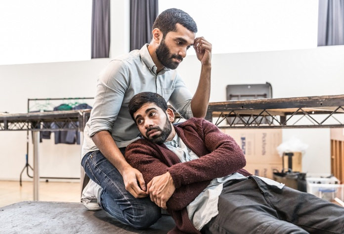 Danny Ashok and Darren Kuppan rehearsing Guards at the Taj at the Bush Theatre. Credit Marc Brenner.jpg