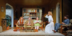 Theatre Royal Bath March 2017 Dress Rehearsal Abigail's Party by Mike Leigh Directed by Sarah Esdaile Janet Bird / Designer Paul Pyant / Lighting Designer Lucy Cullingford / Movement Dance Amanda Abbington as Beverly Ben Caplan as Laurence Charlotte Mills as Angela Ciar‡n Owens as Tony Rose Keegan as Susan ©NOBBY CLARK +44(0)7941-515770 +44(0)20-7274-2105 nobby@nobbyclark.co.uk