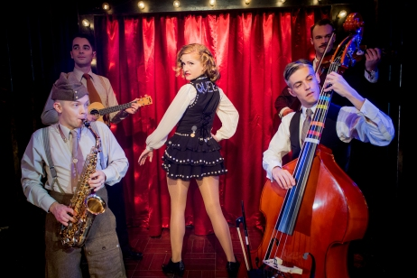 Tamar Broadbent & the boys in the band Miss Nightingale the musical Photo, Robert Workman.jpg