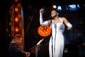 Audra McDonald as Billie Holiday and Shelton Becton as Jimmy Powers in Lady Day at Emerson's Bar & Grill at the Wyndham's Theatre until 9 September 2017. CREDIT Marc Bren