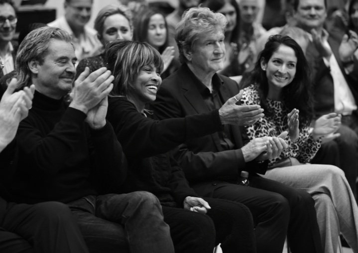 3. L-R Erwin Bach, Tina Turner, Roger Davies and Tali Pelman at TINA workshop December 2016 (Photo by Hugo Glendinning)