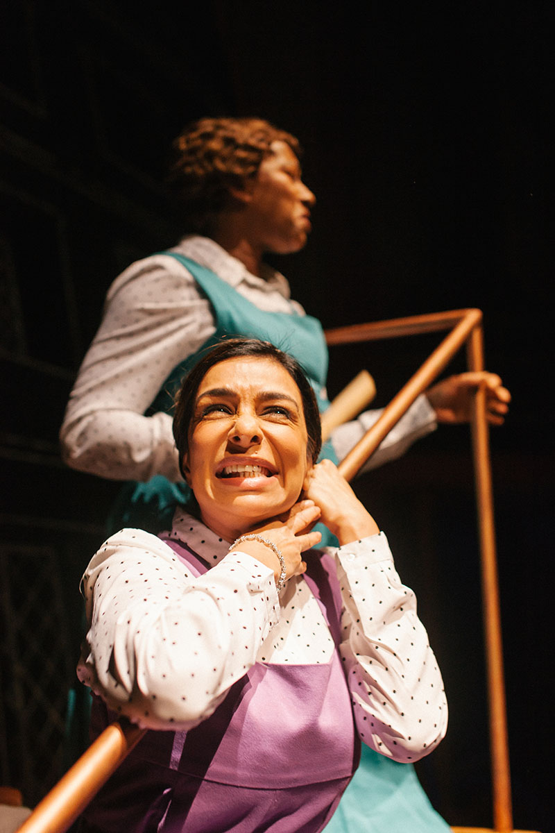 Clare Perkins (top) and Shobna Gulati in Daisy Pulls It Off at Park Theatre. Photo by Tomas Turpie 27