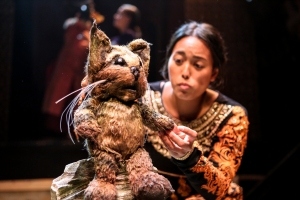 A cat puppet being worked by Dunzayad