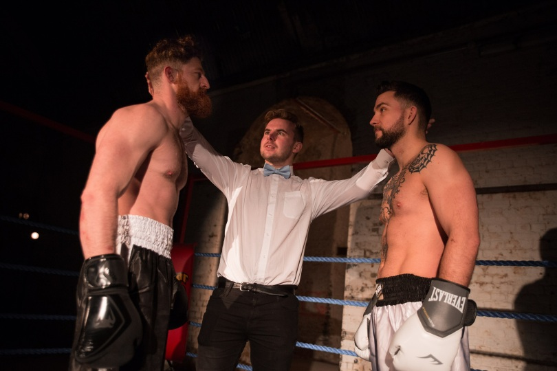 Fight Night. VAULT Festival. Photo Mark Senior 5. (Edward Linard, Ben Lydon and Pete Grimwood)
