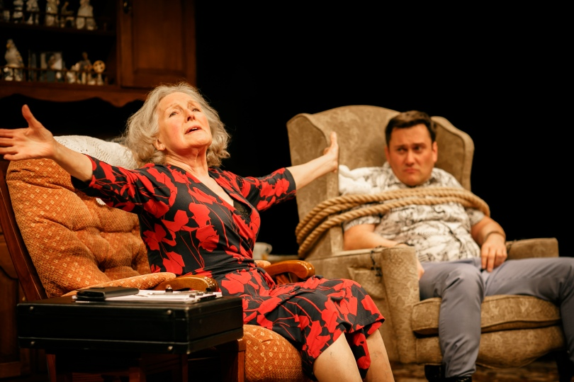 Marlene Sidaway (Flora) and Kevin Tomlinson (Simon) in 'Beneath The Blue Rinse'. Photo Credit Ben Wilkin