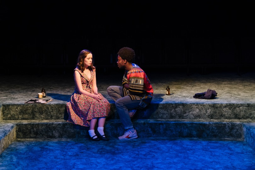 l-r Tilly Steele as Shelley and Jonathan Ajayi as Errol in 'Strange Fruit' at the Bush Theatre. Photo credit Helen Murray